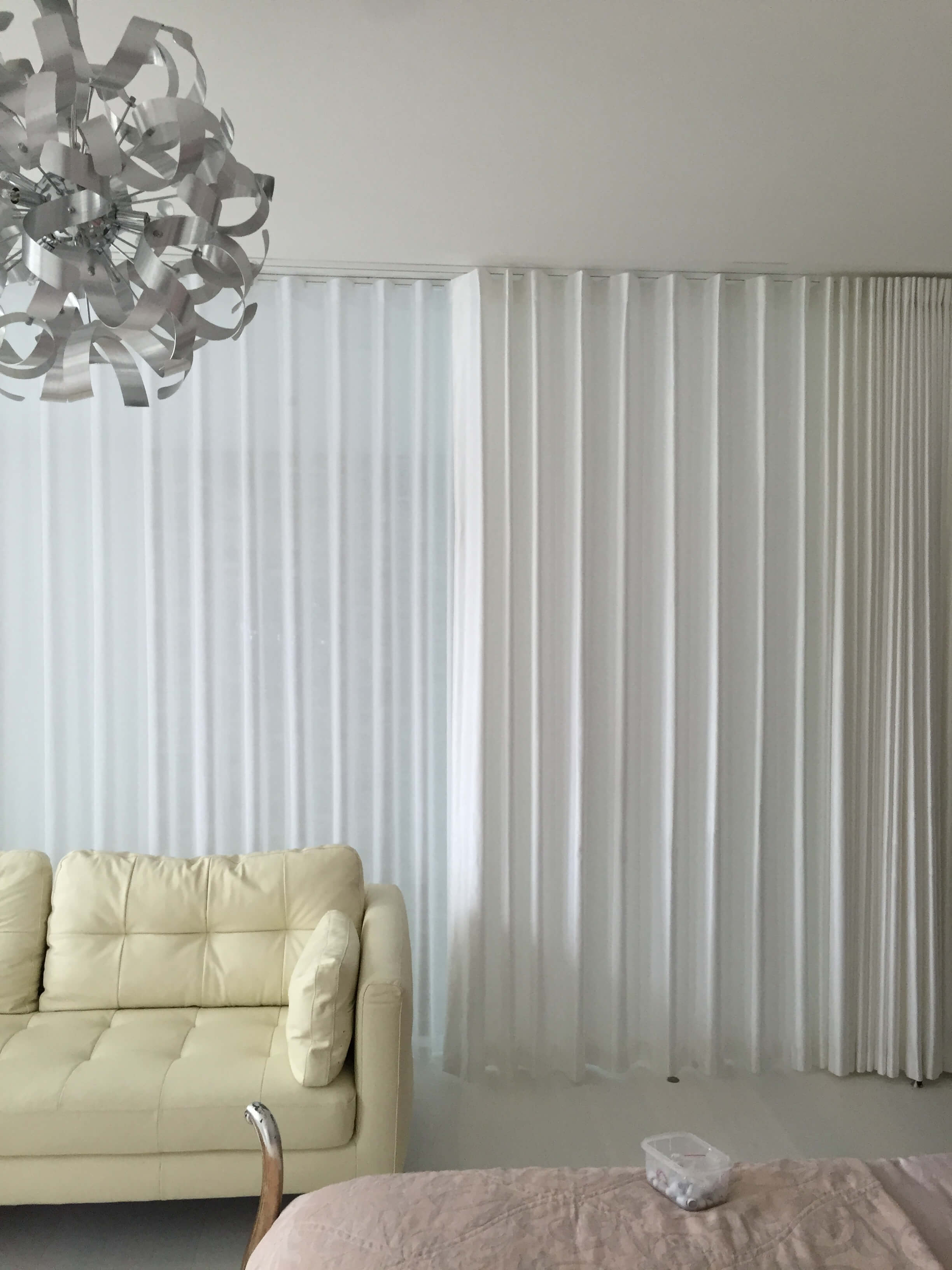 White sheer wave curtains