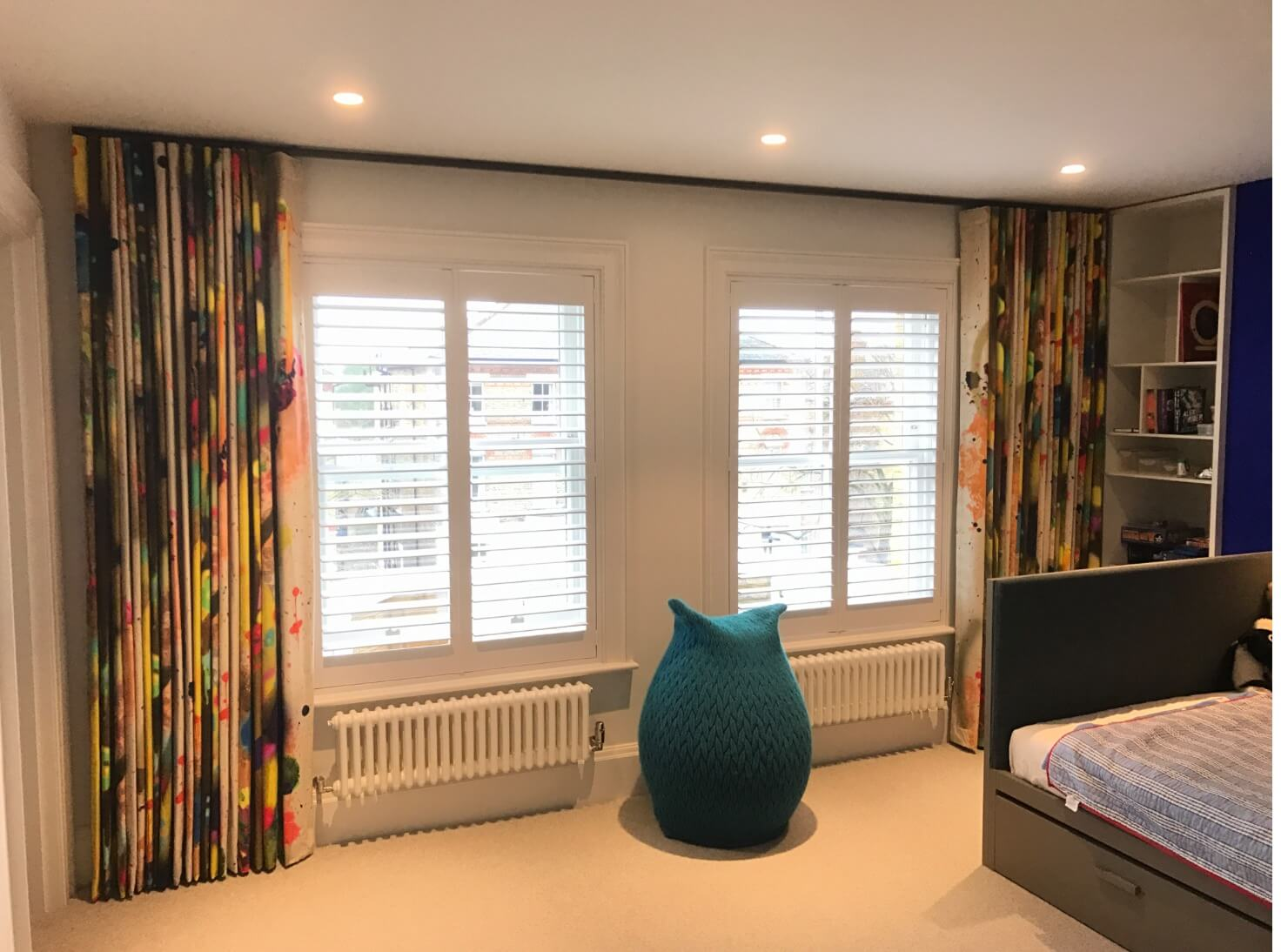 Bespoke wave curtains in colourful fabric