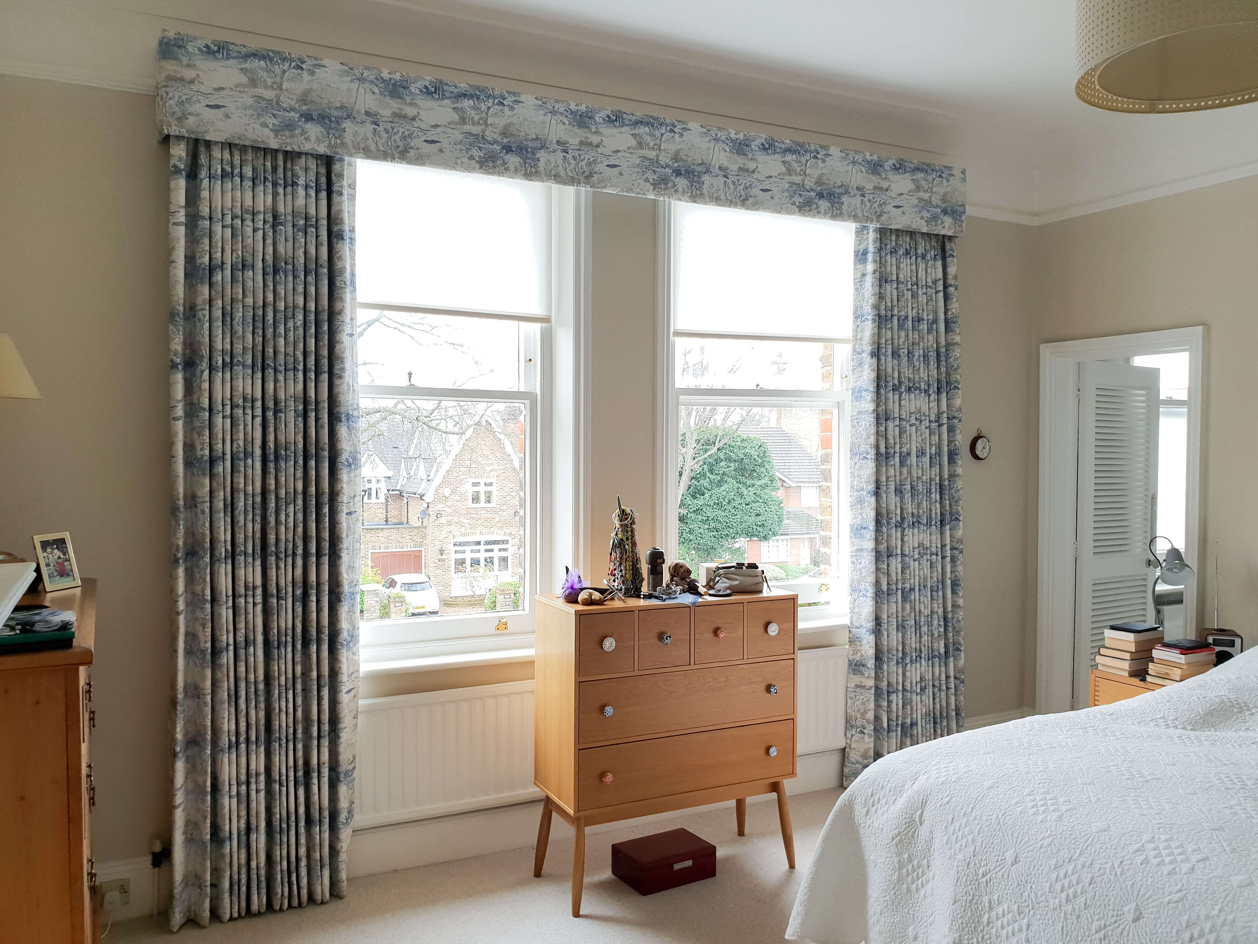 Patterened bedroom curtains with box pelmet